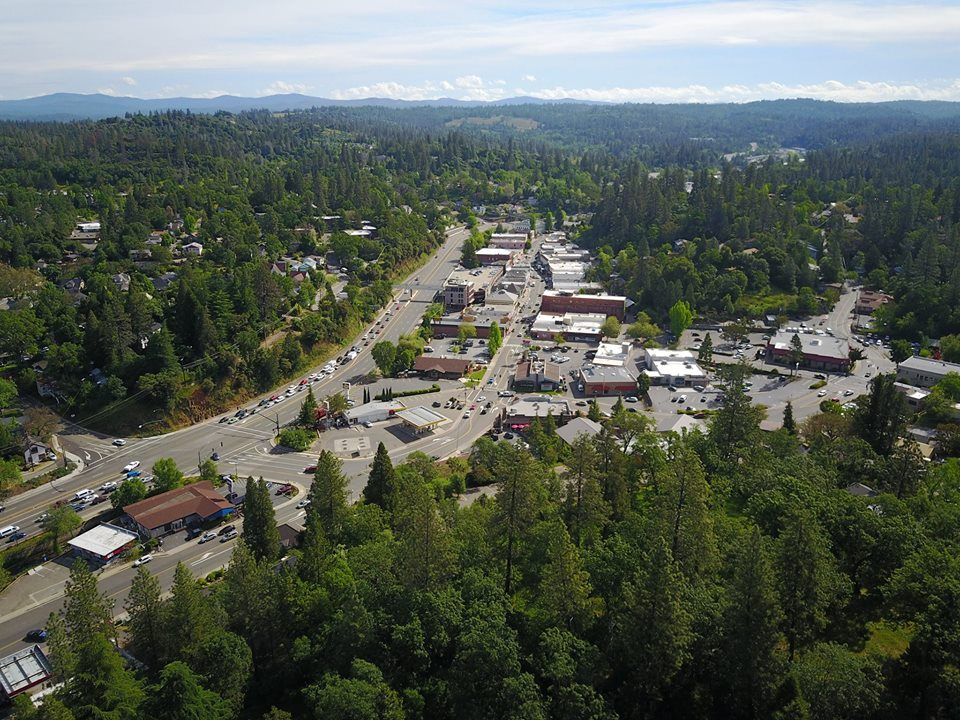 View of Downtown Placerville looking east toward the Sierra Nevada mountains.